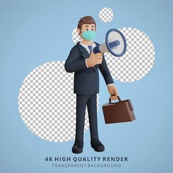 Homem de negócios usando uma máscara protestando com um megafone ilustração de personagem renderização 3d