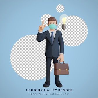Homem de negócios usando uma máscara tendo uma boa ideia ilustração de personagem renderização 3d