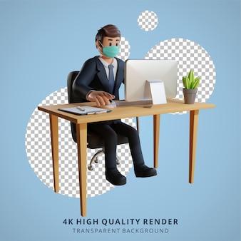 Homem de negócios usando uma máscara trabalhando em sua mesa ilustração de personagens renderização em 3d