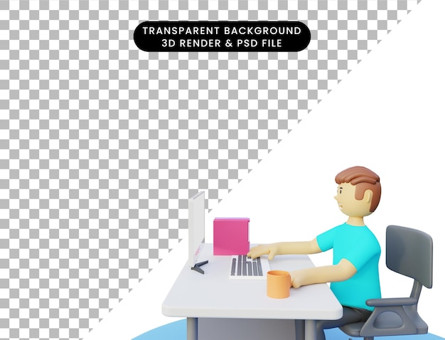 Homem de renderização 3d trabalhando no computador frontal