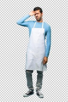 Homem, desgastar, um, avental, com, cansado, e, expressão doente
