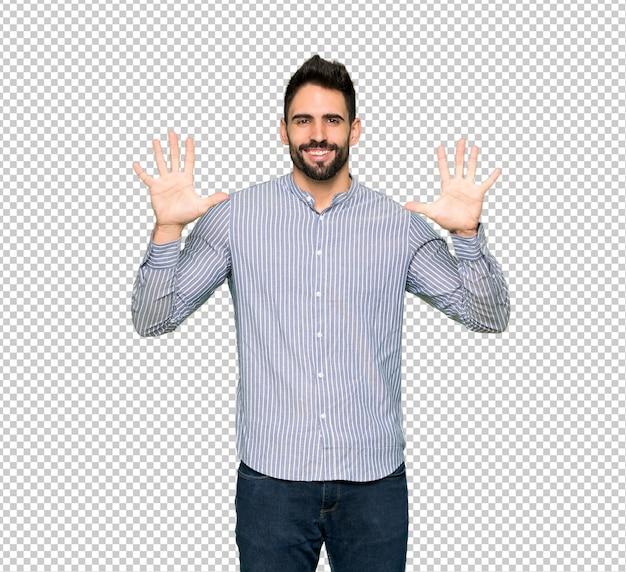 Homem elegante com camisa contando dez com os dedos