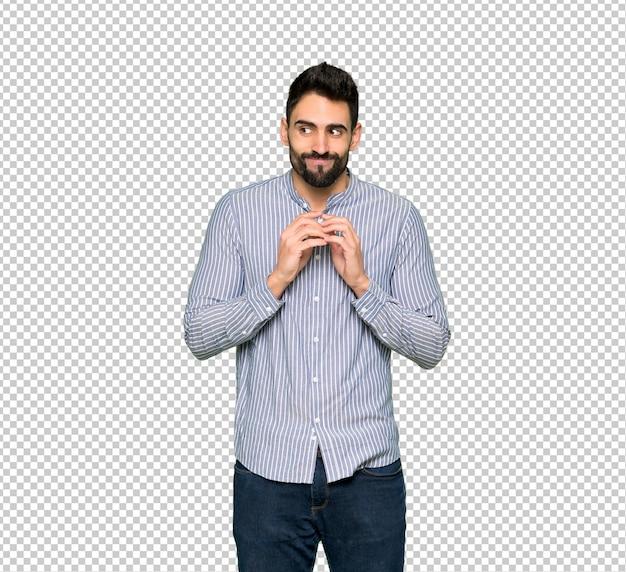 Homem elegante com camisa planejando algo