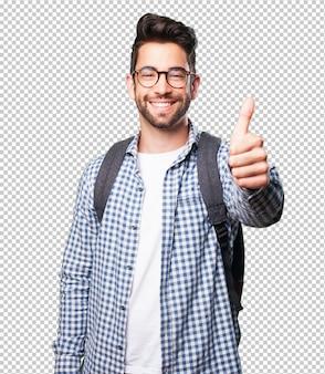 Homem estudante, fazendo, aprovação, gesto