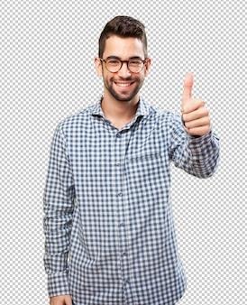 Homem estudante, fazendo, aprovação, símbolo