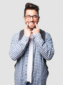 Homem estudante feliz