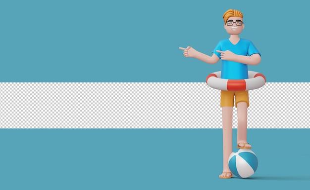 Homem feliz apontando o dedo no anel de natação em uma bola de praia renderização em 3d