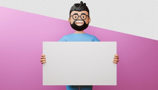 Homem feliz com renderização 3d de tela em branco