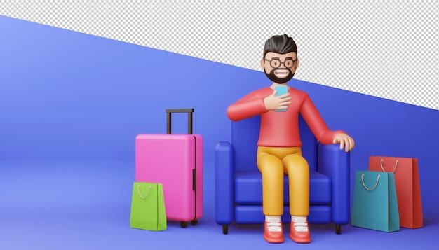 Homem feliz com renderização 3d do telefone