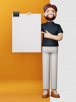 Homem feliz com tela em branco e tabuleiro vazio renderização em 3d