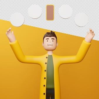 Homem feliz com telefone e renderização 3d de círculo em branco