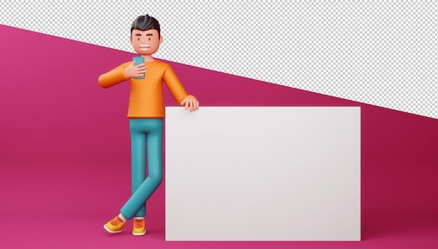 Homem feliz com telefone e renderização 3d de tela em branco
