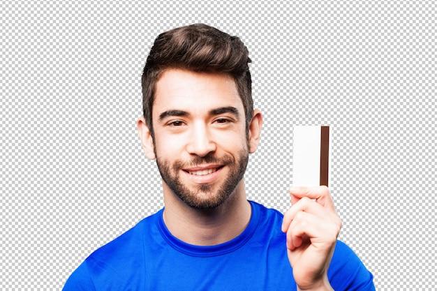 Homem jovem, com, cartão crédito
