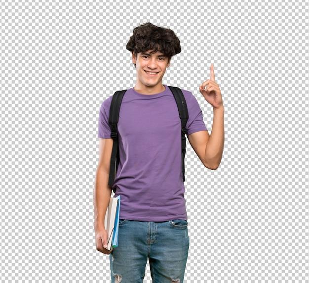 Homem jovem estudante apontando para uma ótima idéia