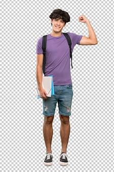 Homem jovem estudante fazendo gesto forte