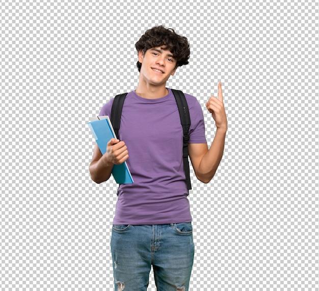 Homem jovem estudante mostrando e levantando um dedo em sinal dos melhores