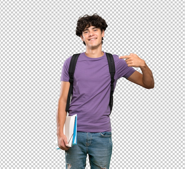 Homem jovem estudante orgulhoso e auto-satisfeito