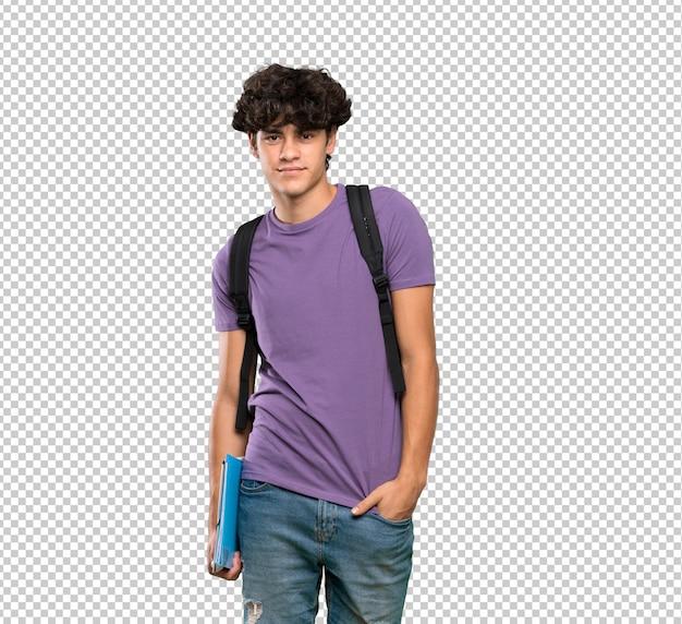 Homem jovem estudante rindo
