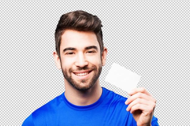 Homem jovem, segurando, cartão visita