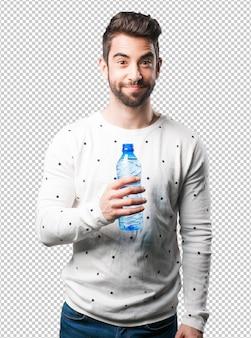 Homem jovem, segurando, garrafa água