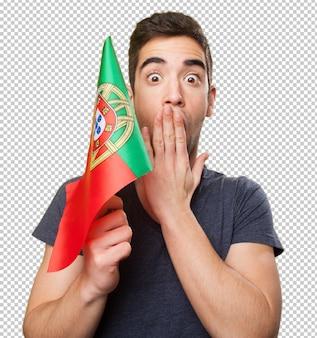 Homem jovem, segurando, um, bandeira