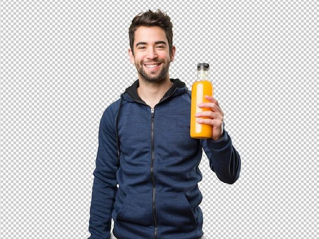 Homem jovem, segurando, um, garrafa suco