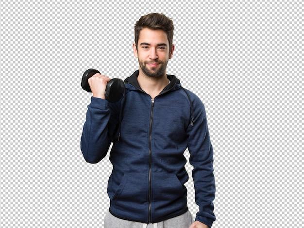 Homem jovem, usando, dumbbells
