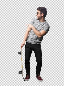 Homem jovem, usando, skateboard