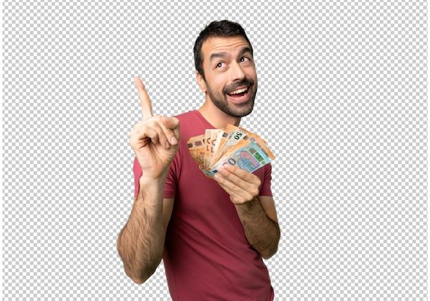 Homem levando muito dinheiro, apontando uma ótima idéia e olhando para cima