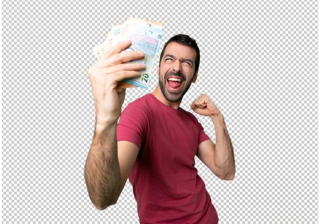Homem, levando, muito, dinheiro, celebrando, um, vitória