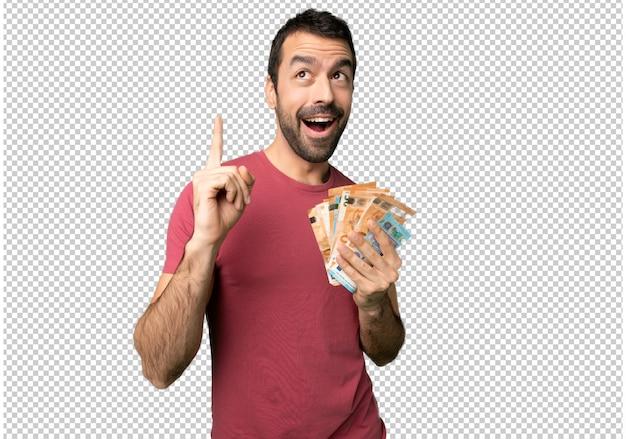 Homem levando muito dinheiro pensando uma ideia apontando o dedo para cima