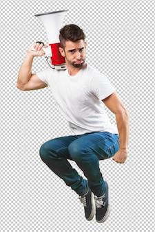 Homem louco pulando