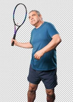 Homem maduro, tocando, com, um, raquete