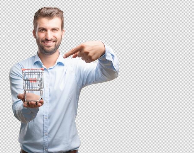 Homem moderno, apresentando, carrinho de compras