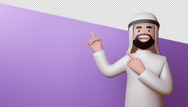 Homem muçulmano feliz apontando os dedos, renderização em 3d