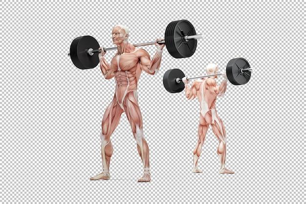 Homem musculoso segurando uma barra nos ombros