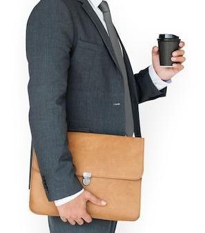 Homem negócio, café segurando, e, saco