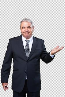 Homem negócio, segurando, gesto