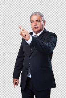 Homem negócio, tocar, um, tela