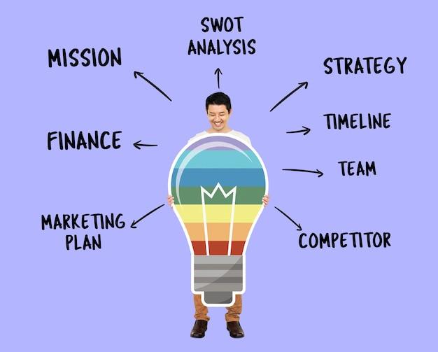 Homem negócios, com, criativo, colorido, idéias