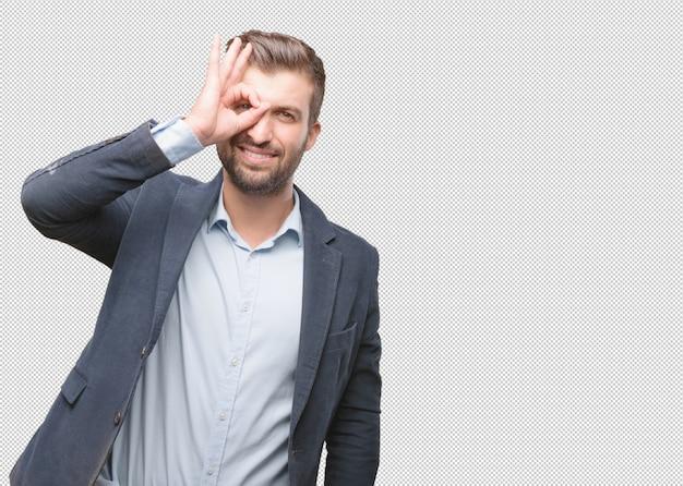Homem negócios, fazendo, olhe gesto