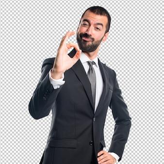 Homem negócios, fazer, tá bom sinal