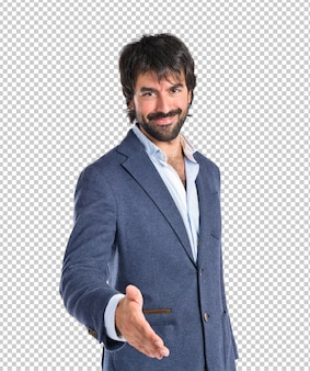 Homem negócios, fazer um negócio, sobre, fundo branco