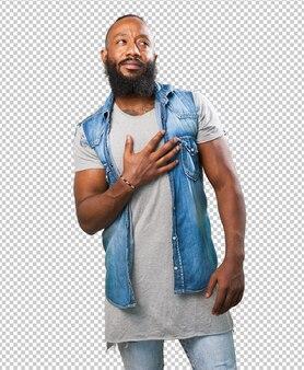 Homem negro apaixonado em branco
