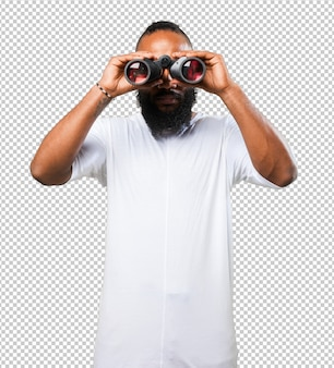 Homem negro com binóculos