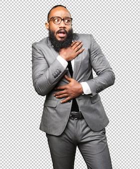 Homem negro de negócios com medo