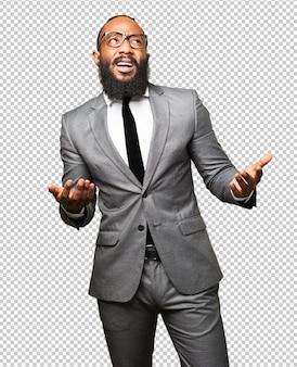 Homem negro de negócios duvidando do gesto