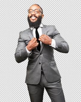 Homem negro de negócios orgulhoso