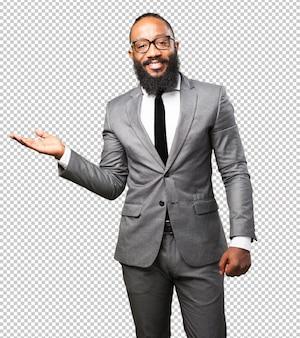 Homem negro de negócios, segurando o gesto