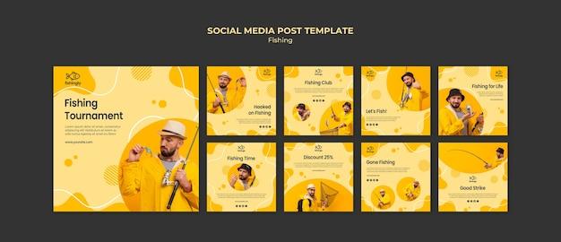 Homem no post de mídia social de casaco de pesca amarelo